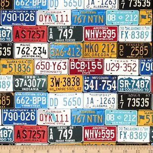 1.5 Yards License Plate Fabric (includes shipping)
