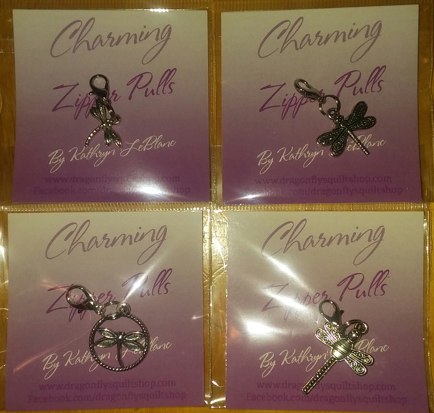ZP Charming Zipper Pulls - 4 for $10 SET 2  Four Dragonflies