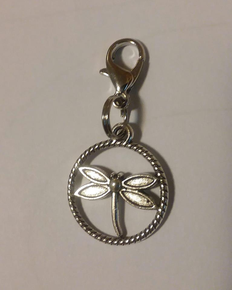 Dragonfly charm zipper pull (Round)