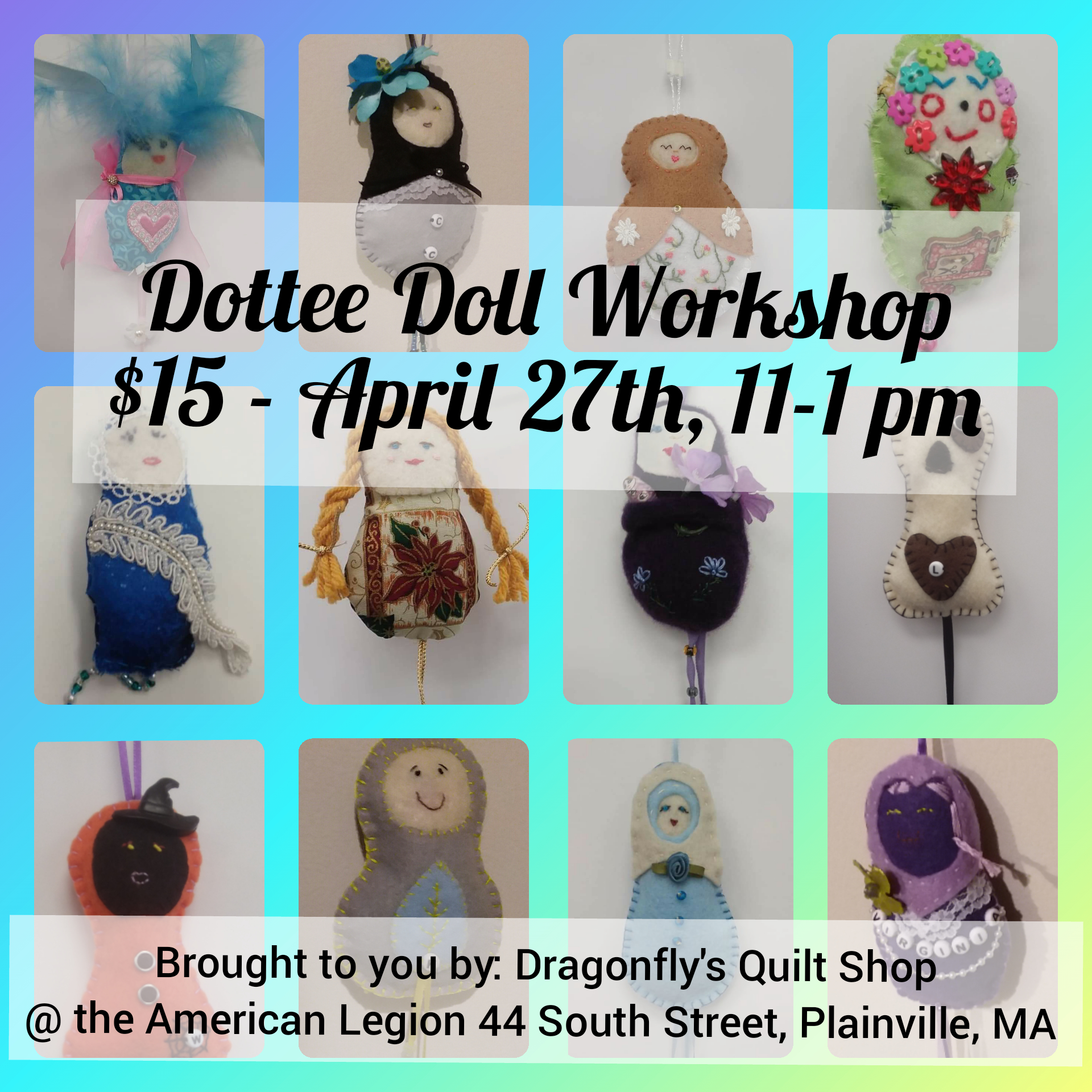 Dottee Doll workshop April 27th 11-1pm