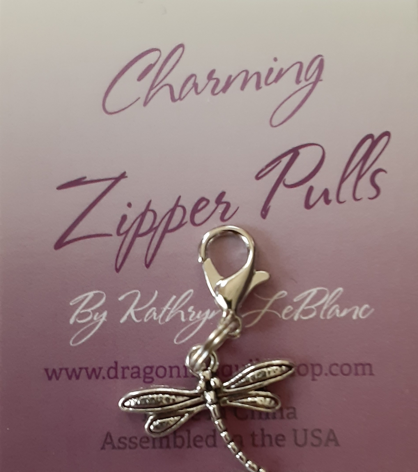 Dragonfly charm zipper pull (Small)