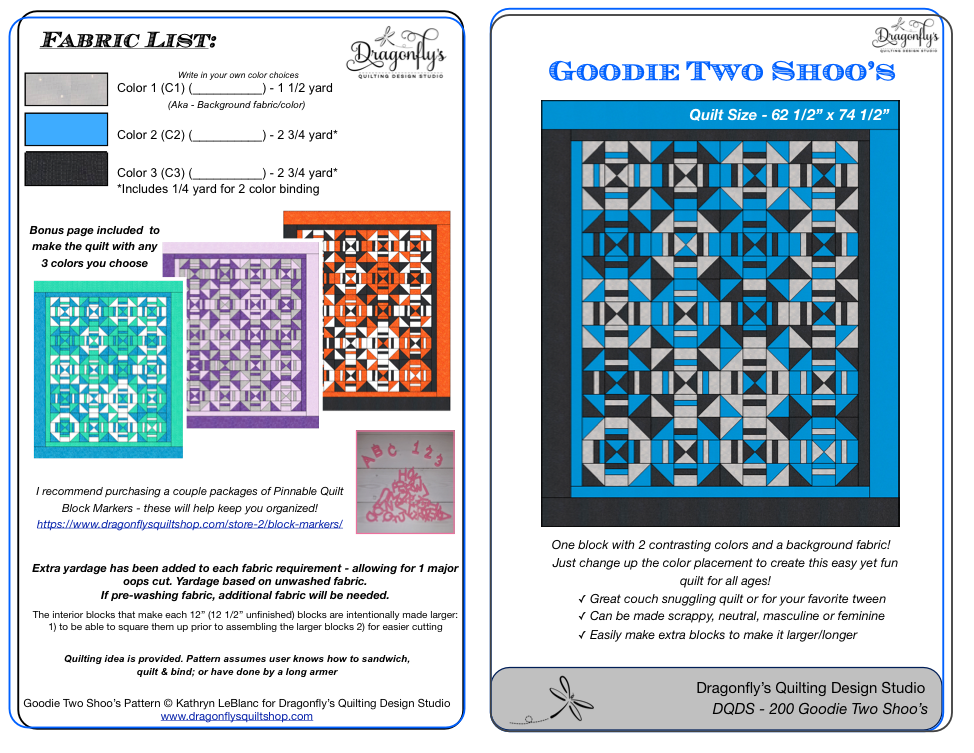 Goodie Two Shoo's (Printed Pattern)
