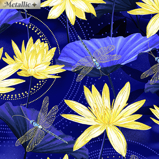 MOONLGHT SERENADE GARDEN BLUE/YELLOW Dragonfly